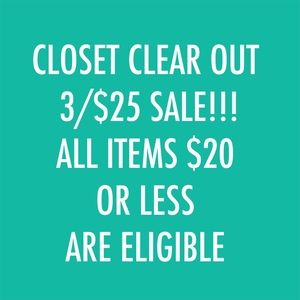 HUGE 3/$25 SALE All Items $20 or Less Are Eligible